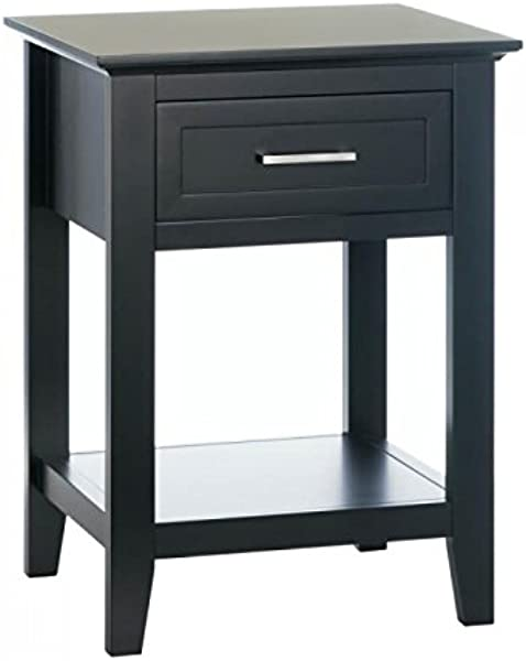 Black Crosstown Traditional Wood Side Table