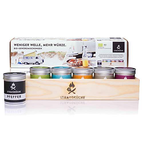 Strandküche Camper Set de 6 mezcla especias 375 g I Set orgánico con sal de mar pimienta y mezcla hierbas BBQ Masala especias dulces Colección especias caja madera hecha a mano con funda regalo