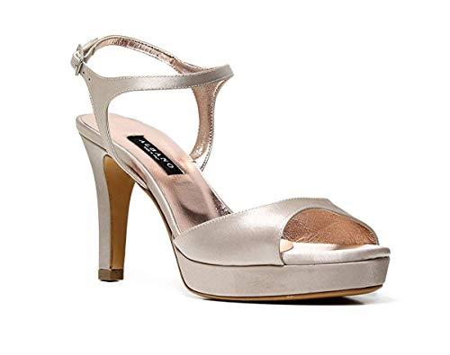 albano scarpe sposa ALBANO Sandalo Elegant Laminato Argento Cerimonia 2117 (40 EU)