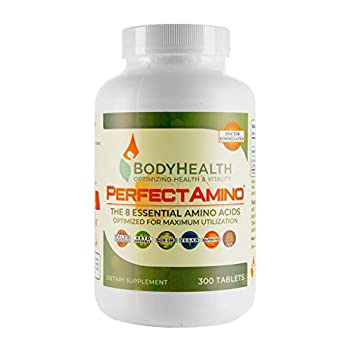 BodyHealth PerfectAmino  300 Tablets  8 Essential Amino Acids Supplements with BCAA Increase Muscle Recovery Boost Energy & Stamina 99% Utilization Vegan Branched Chain Protein Pre/Post Workout