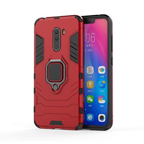 Xiaomi Pocophone F1 Funda, CHcase 2in1 Armadura Combinación A Prueba de Choques Heavy Duty Escudo Cáscara Dura PC + TPU Silicona con Soporte Magnetic Car Mount Case Cover para Xiaomi Pocophone F1 -Red