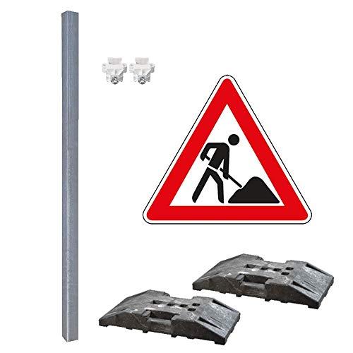TMS PRO SHOP Achtung Baustelle, Schilder-Set, mit Verkehrszeichen Nr. 123, 5-teilig aus Aluminium,Stahl, Kunststoff