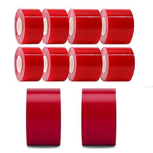 WXH 10 STÜCKE Doppelseitiges Acrylklebeband, extra breit, 50 mm, 3 Meter länger, entfernbar, klar, wasserdicht, Bodenfliesen für Innen- und Außenbereiche