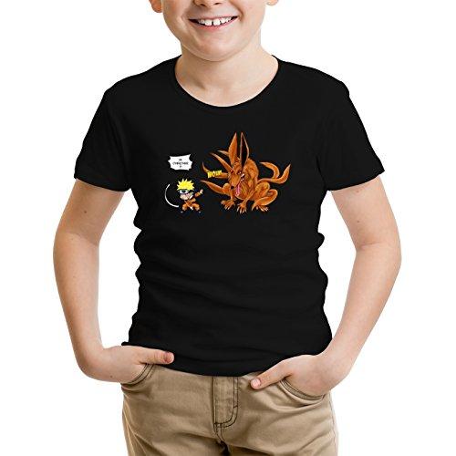 T-Shirt Enfant Noir Naruto parodique Naruto et Kyubi Le démon Renard à 9 queues : Va Chercher ! (Parodie Naruto)