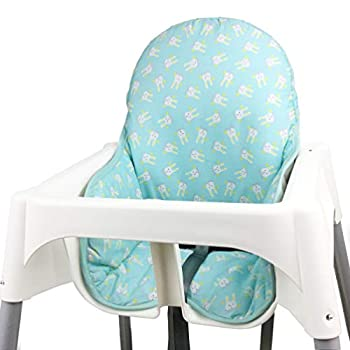 ZARPMA Cotton Seat Covers for IKEA Antilop Highchair ,Cotton Padded Foldable Baby Highchair Cover for IKEA Child Chair Cushion Light Green