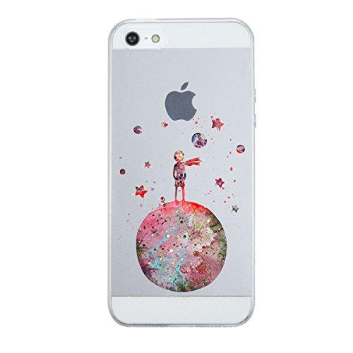 Funda iPhone SE 5S 5 Case,Caler ® Suave TPU Gel Silicona Ultra-Delgado Ligera Anti-rasguños Protección Patrones Populares Carcasa para Apple iPhone SE 5S 5 (Pequeño Príncipe Principito)
