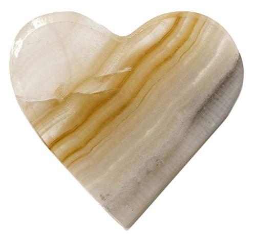 HBAR - Figura de corazón de ónix de ámbar Dulce, 4,4 cm de Largo, 4,4 cm de Ancho, 1,75 cm de Alto, 1,27 cm de Alto, Tallado de auténtica agonita de ónix norteamericano, la Serie de Minas Artesanas