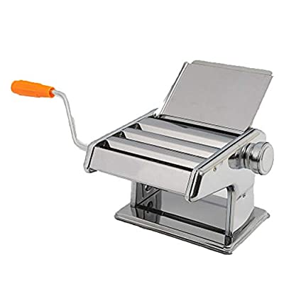 WSSW Noodle Machine Spaghetti Machine Multifunctional Small All-Steel Noodle Rolling Machine Noodle Machine Noodle Pressing Machine Convenience Household Hand Crank Silver