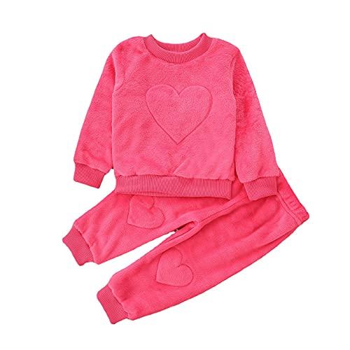 Alunsito Toddler Baby Girl Pants Set Camicetta a maniche lunghe tinta unita Top + Pantaloni Abiti autunnali Abiti invernali per neonati Rosa rossa 80 6-12 mesi