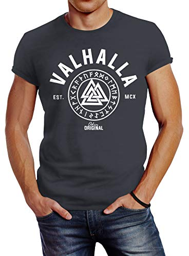 Neverless Valhalla Rune Vikings T-shirt pour homme Coupe slim - Gris - Medium