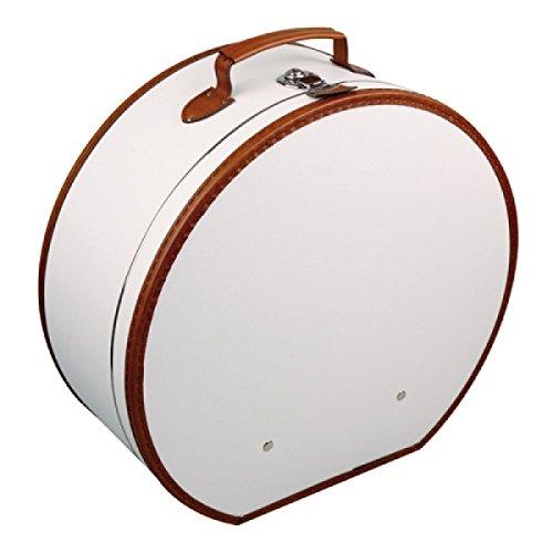 Hutschachtel Pappe weiß mit brauner Borde ca. Ø 50 x 20 cm Hutkoffer Hutbox Hutaufbewahrung Hutschachte Hutkiste Hutkarton