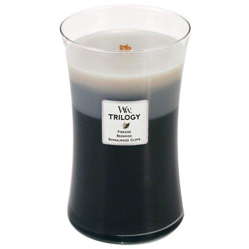 Grote WoodWick Trilogy geurkaars in zandloper glas met knapperende lont, warm hout, brandduur tot 130 uur