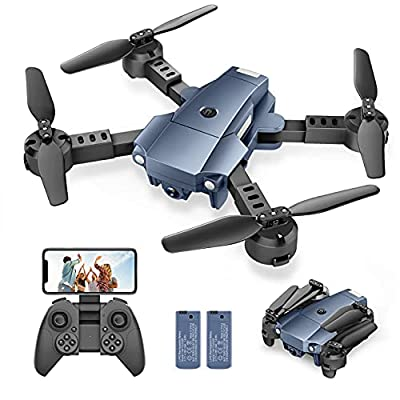 A10 Mini Foldable Drone with 1080P HD Camera FPV WiFi RC Quadcopter Voice Control, Gesture Control, Trajectory Flight, Circle Fly, High-Speed Rotation, 3D Flips, G-Sensor, Headless Mode from