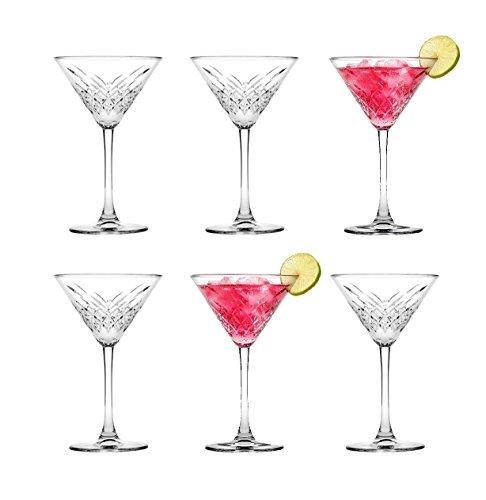 """Pasabahce, bicchiere da Martini """"Timeless"""", 440176, design effetto cristallo, altezza: circa 17,2cm, set da 6 pezzi in vetro"""