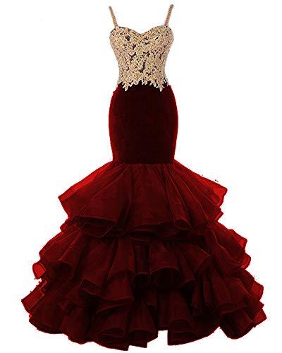QBEBRIDAL Women's Mermaid Gold Appliques Organza Ruffles Long Prom Gown