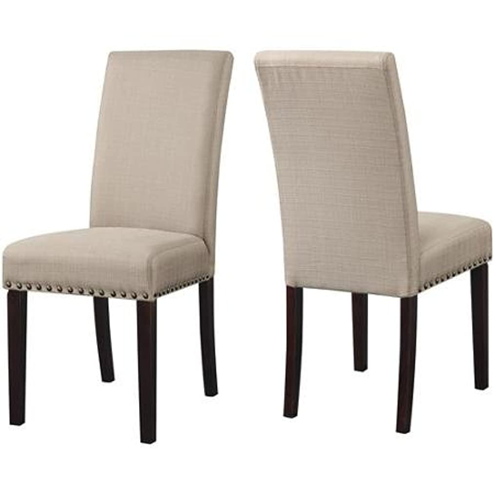 DHI Nice Nail Head Transitional Kiln Dried Hardwood Frame High Density Foam Upholstered Grade Woven Fabric Dining Chair Rich Espresso Stained Legs, Set of 2, Wheat