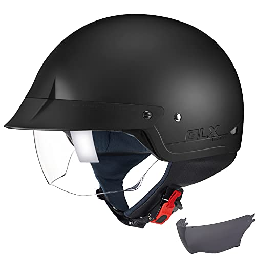 GLX Unisex-Adult Size M14 Cruiser Scooter Motorcycle Half Helmet with Free Tinted Retractable Visor...
