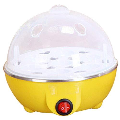 Elektrische eierkoker, Rapid Verwarming RVS Steamer Pan Koken Gereedschap Keurengerei Portable 7 Eieren Capaciteit, Meten Cup in, Blue AQUILA1125 (Color : Yellow)