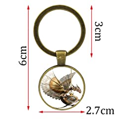 Bosi General Merchandise Steampunk Pterodactyl, Gem of Time, Creative Glass Keychain, Key Ring Pendant, Creative Gift #1