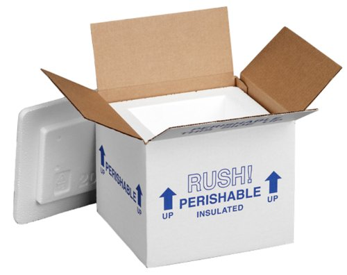 """Polar Tech 205C Thermo Chill Insulated Carton with Foam Shipper, Small, 6"""" Length x 5"""" Width x 6-1/2"""" Depth (Case of 2)"""