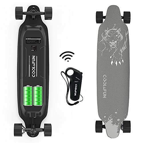 FUNDOT Skateboard Eléctrico,Monopatín Eléctrico con Mando a Distancia, Longboard Eléctrico 400W Motor,38X9.4 Pulgadas con 4 Ruedas,Velocidad Máxima 28-32KM/H,3 Modos de Velocidad,Carga Máxima 120KG