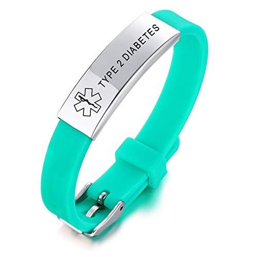 COOC Gepersonaliseerde Medische Alert Armband voor Mannen Vrouwen Emergency Medische Armbanden Waarschuwing ID Armbanden voor Volwassenen Medische Alert Armband
