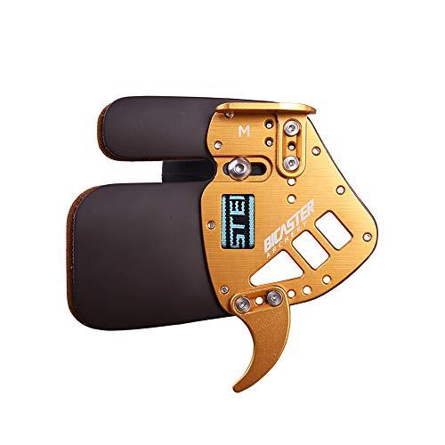 Bicaster Protector de lengüeta para Dedo con Arco (Cuero auténtico y Aluminio) (Oro, L)