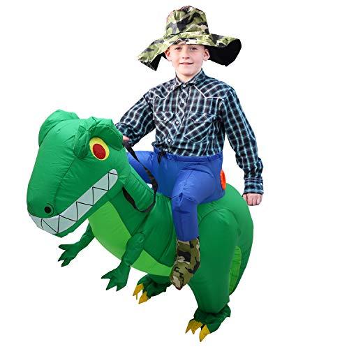 CestMall Costume da Dinosauro, Costume Gonfiabile da Dinosauro per Bicicletta Costume Gonfiabile per Bambini di Halloween con Cappello Vestito Operato per Adulti per Bambini Festa (120-140 cm)