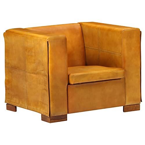 Tidyard Sillón Forma Cubo de Cuero Auténtico Cuadrado Tapizado Diseño Moderno Elegante Butaca Vintage Estilo Sillón de TV Estable Marrón Canela