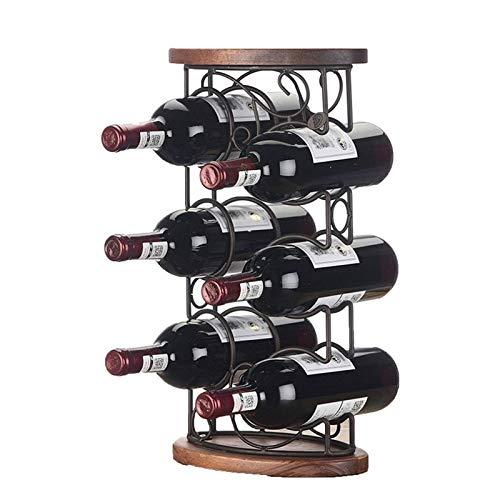 YWYW Estante para Vino, 1 Pieza Estante para exhibición de Vino Tinto Estante para Botellas de Madera Maciza Estante para Vino Europeo de Varios Pisos (sin Botellas y Tazas) para Amantes del Vino