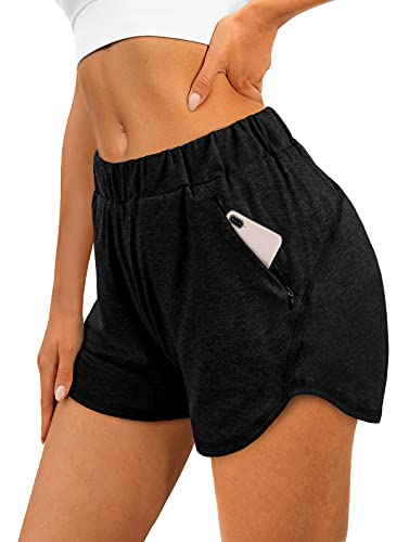XIEERDUO Womens Shorts Workout Athletic Shorts for Summer Casual Elastic Waist Black XL