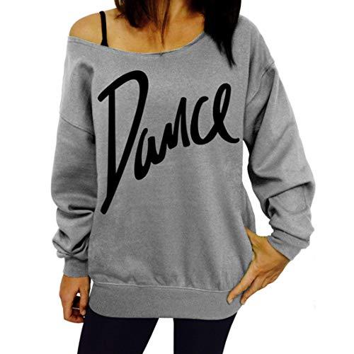 Damen Sweatshirts Lässig Langarm T-Shirts aus der Schulter Tops Letter Print...