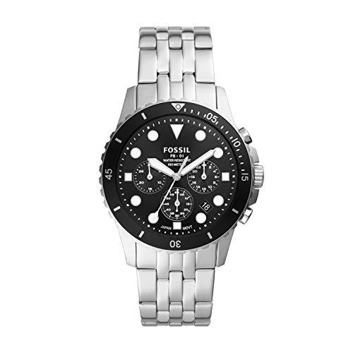 Fossil Reloj cronógrafo de cuarzo casual de acero inoxidable inspirado en buceo para hombre FB-01