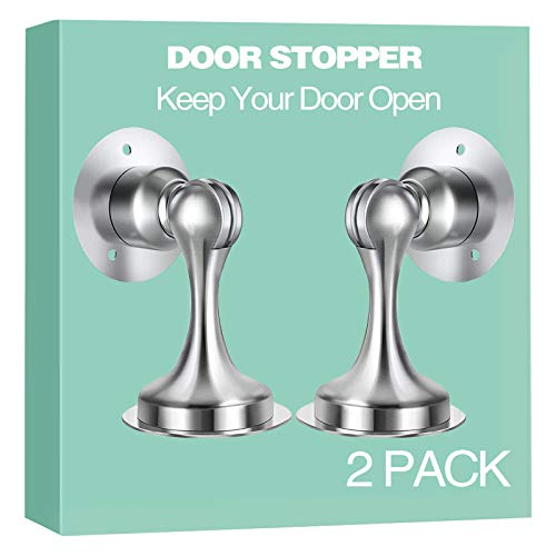 Door Stopper, 2 Pack Magnetic Door Stop, Stainless Steel Door Catch,3M Double-Sided Adhesive Tape, Magnetic Door Catch, Keep Your Door Open, Wall Mount Door Holder