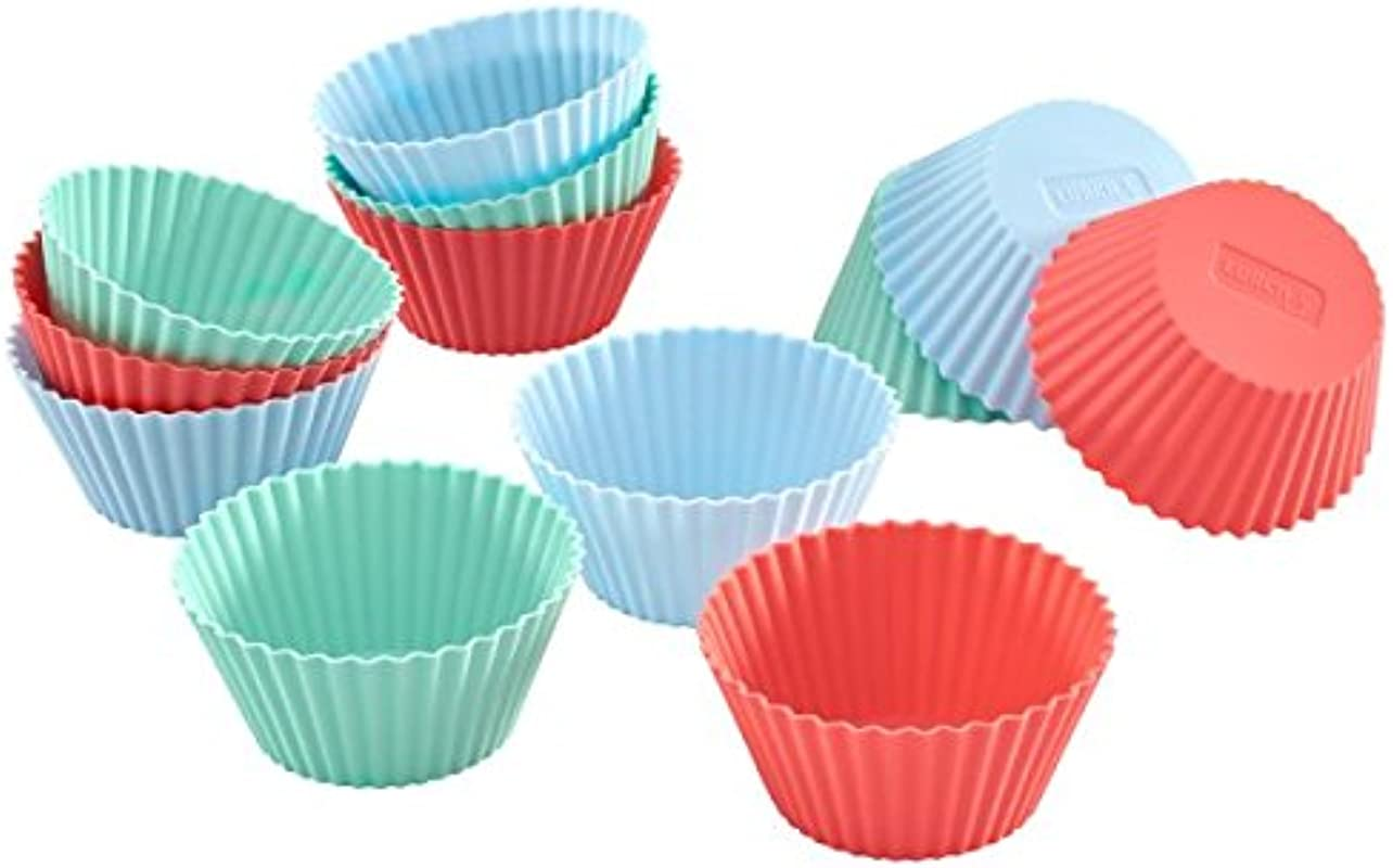Lurch Germany Flexiform Silicone Cupcake Cases Set Of 12 Pink Green Blue