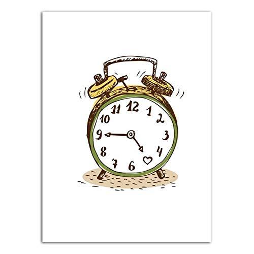 Imagen de pintura de dibujos animados de reloj despertador, sala de estar dormitorio fondo familiar pared, lienzo art deco poster-50x70cm_Framed