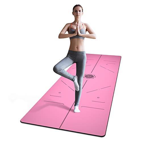 FrenzyBird 5 mm PU Yogamatte mit Tragegurt und Ausrichtungsspuren, rutschfest und leicht zu reinigen, bietet perfekte Dämpfung, ideal für Anfänger und fortgeschrittene Yogis