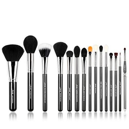 Jessup, T092, set professionale di pennelli da trucco, 15pezzi, nero/argento, per cosmetici, fondotinta, ombretto, eyeliner, sfumature, labbra. Accessori da trucco