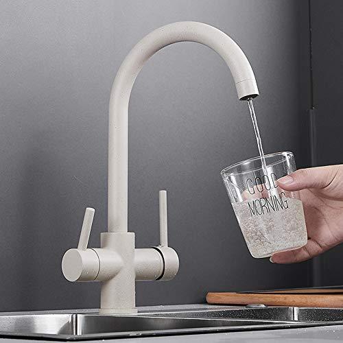 FWZZQ - Rubinetto da cucina a 3 vie, in granito, colore beige, girevole a 360°, 2 leve, miscelatore per osmosi, acqua potabile in ottone
