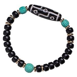 Cosaike Feng Shui Buddhist Sommersprossen Beads Amulett Armband Achat Dzi Perlen Armband Mala Perlen Meditation Neun Eyes Dzi Perle Armband Gesundes Glück Wohlstand Geschenke für Frauen Männer