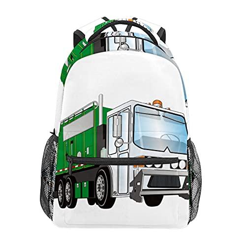 Mochila de viaje 3D para camión de basura verde y blanco, mochila para escuela, colegio, viajes, senderismo, moda portátil, para mujeres, hombres, adolescentes, informales, escolares, lona
