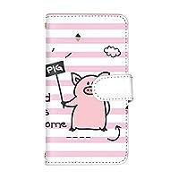 [スマ通] スマホケース 手帳型 LG Style2 L-01L カード収納 化粧鏡 付き 財布型 ケース LG エルジー エルジー スタイル ツー 【B.ピンク】 [ぶたストライプ] vd-0420
