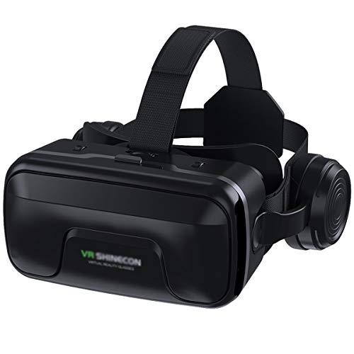 VR-Headset, Virtual Reality Headset, VR-Brille, VR-Brille für 3D VR Filme Videospiele mit eingebauten Kopfhörern mit 120 Grad FOV VR Headset VR Brille Handy Kompatibel mit iPhone und Android