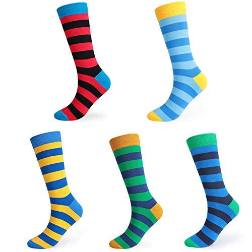 WSLCN Homme Chaussettes Pack de 5 Homme Coton Confortable Respirante Socks Socquettes Chaussettes de Sport à Rayures A 43-48