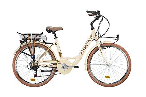 Citybike Atala E-RUN LADY, elettrica monotubo con pedalata assistita, misura unica S/43cm (statura 150 - 175cm), 6 velocità, colore crema - mogano