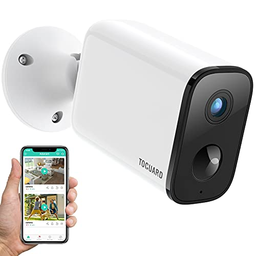 TOGUARD Wireless Outdoor Security Camera, WiFi Cameras for Home Security, Rechargeable Surveillance Camera, Battery Powered HD 1080P Night Vision PIR Motion Detection, 2-Way Audio Easy to Install