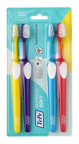 TePe Supreme Zahnbürste – Konische Bürsten-Form mit kurzen und langen Borsten für optimale, sanfte Reinigung bis in die Zahnzwischenräume, 1 x 4 Stück in verschiedenen Farben