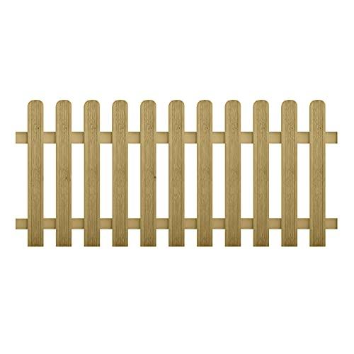 ONLYWOOD Steccato in Legno di Pino Impregnato Modello NICE, Dimensioni Pannello cm 180 x 100 Altezza, Recinzione a Listelli per Giardino (1)