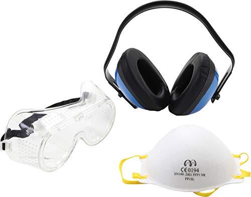 BGS 3625 Werkbeschermingsset 3-delig capsule-gehoorbescherming fijnstofmasker FFB1 volledig zicht-veiligheidsbril