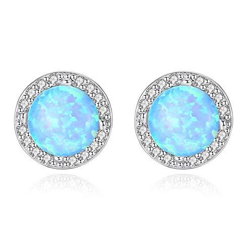 Beydodo Pendientes Plata 925 Mujer,Pendientes Para Mujer Verde Redondo Ópalo Circonita Azul